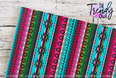 """Decorative Serape"" - U.S. Designer Litchi/Pebbled Faux Leather Printed Fabric Sheets"