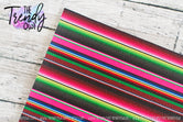 """Traditional Serape"" - U.S. Designer Litchi/Pebbled Faux Leather Printed Fabric Sheets"