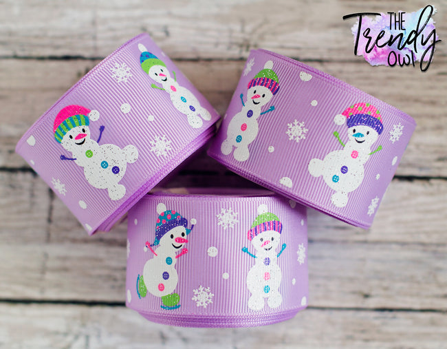 "1.5"" Snowmen on Lt Orchid - 5yd Roll"
