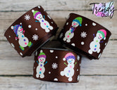 "1.5"" Snowmen on Brown - 5yd Roll"