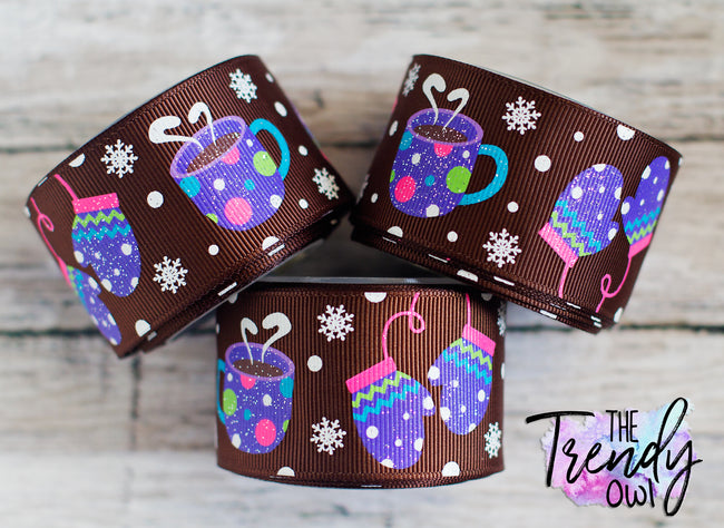 "1.5"" Hot Cocoa & Mittens on Brown - 5yd Roll"