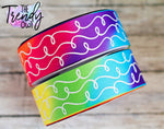 "1.5"" White Glitter Doodles on Bright Rainbow Tie Dye Heat Transfer- BY THE YARD"