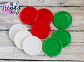"9pc. Set of Plastic Cap Settings - 1"" Inner Circle - White, Red, Emerald Green"