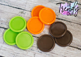 "9pc. Set of Plastic Cap Settings - 1"" Inner Circle - Apple Green, Tangerine, Brown"