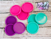 "9pc. Set of Plastic Cap Settings - 1"" Inner Circle - Purple, Hot Pink, Tropic"