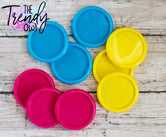 "9pc. Set of Plastic Cap Settings - 1"" Inner Circle - Azalea, Turquoise, Yellow"