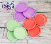 "9pc. Set of Plastic Cap Settings - 1"" Inner Circle - Mint, Lilac, Coral"