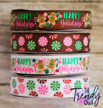 "7/8"" Happy Holidays Gingerbread & Christmas Candy - BY THE YARD"