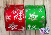 "3"" Silver Holographic Foil Snowflakes on Red & Emerald Green - BY THE YARD"