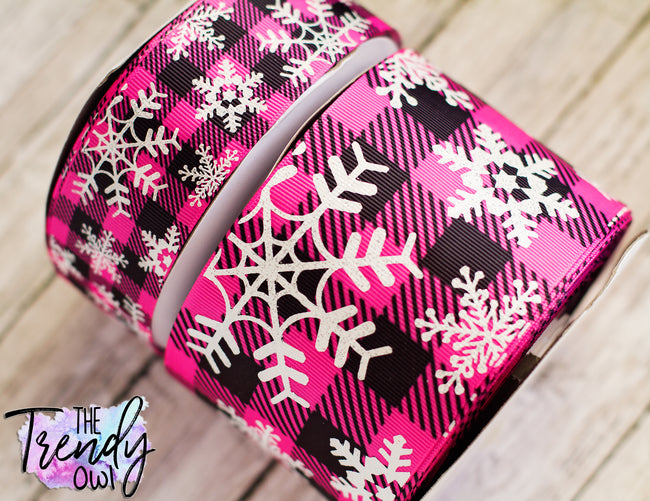 "1.5"" & 3"" White Glitter Snowflakes on Pink Buffalo Plaid Heat Transfer - BY THE YARD"