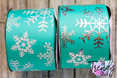 "3"" White Glitter & Silver Holographic Foil Snowflakes on Tropic (teal) - BY THE YARD"