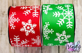 "3"" White Glitter Snowflakes on Red & Emerald Green - BY THE YARD"