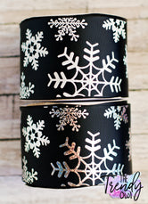 "3"" White Glitter & Silver Holographic Foil Snowflakes on Black - BY THE YARD"