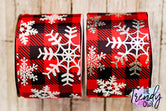 "3"" White Glitter & Silver Holographic Foil Snowflakes on Red Buffalo Plaid - BY THE YARD"