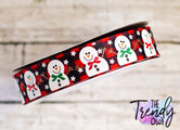 "7/8"" Classic Snowman on Red Buffalo Plaid - BY THE YARD"