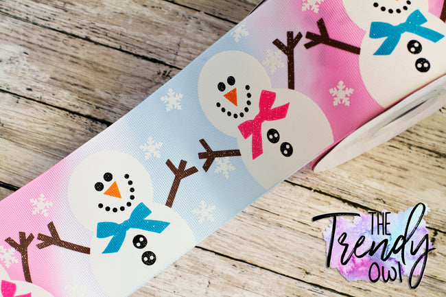 "3"" Winter Snowman on Winter Tie Dye Heat Transfer - BY THE YARD"