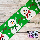 "3"" Classic Snowman on Emerald Green - BY THE YARD"