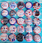 PATRIOTIC / 4TH OF JULY - 25pc. Flat Back Button Grab Bag