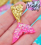 Pink/Gold Glitter Mermaid Tail Resin - 1pc.