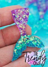 Purple/Turquoise Glitter Mermaid Tail Resin - 1pc.