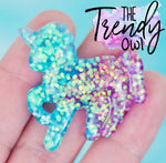 Turquoise & Purple Glittered Unicorn Resin - 1pc.
