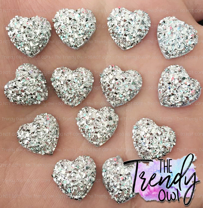 12mm Cracked Ice Silver Metallic Gemstone Hearts - 10pcs/pack