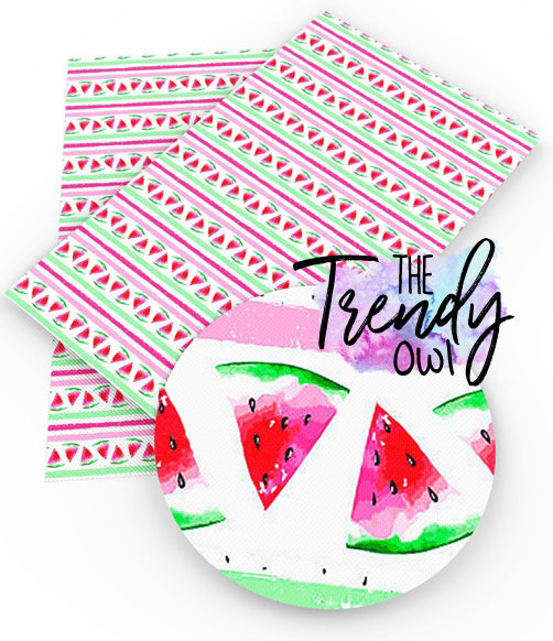 """Sweet Summer Melon"" - Faux Leather Printed Fabric Sheet"