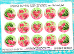 "Red Watercolor Watermelons - 1"" Bottle Cap Images - INSTANT DOWNLOAD"
