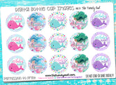 "Whaley Cute & Mermazing - 1"" Bottle Cap Images - INSTANT DOWNLOAD"