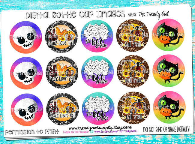 "**FREEBIE FRIDAY!** ""BOO Crew"" Halloween/Fall Sayings  - 1"" Bottle Cap Images - INSTANT DOWNLOAD"
