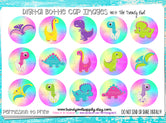 "Bright Dinos  - 1"" Bottle Cap Images - INSTANT DOWNLOAD"