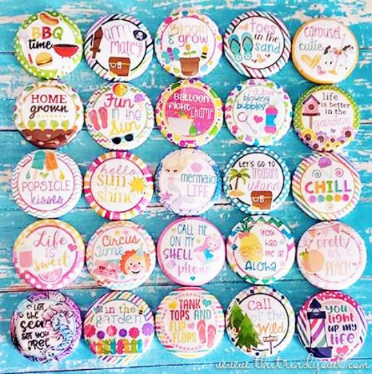 SUMMER / VACATION - 25pc. Flat Back Button Grab Bag