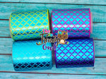 "3/8"", 7/8"", 1.5"" & 3"" - Turquoise Laser Foil Mermaid Scales - 5yd Roll"