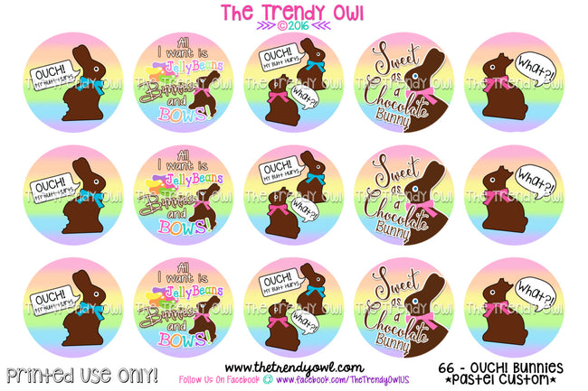 "OUCH! Bunnies - Pastel Rainbow Ombre Easter - 1"" BOTTLE CAP IMAGES - INSTANT DOWNLOAD"