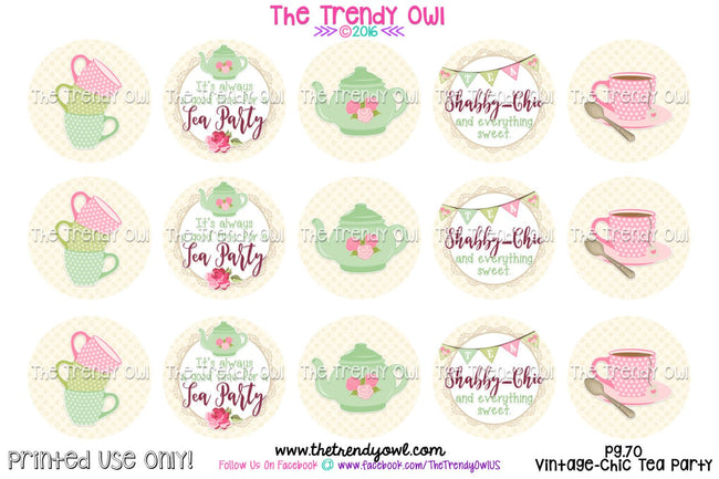 "Vintage Chic Tea Party Digital Bottle Cap Images - 1"" BOTTLE CAP IMAGES - INSTANT DOWNLOAD"