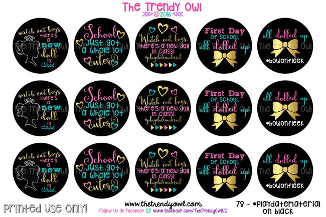 "Back To School - #playdatematerial on black - 1"" Bottle Cap Images - INSTANT DOWNLOAD"