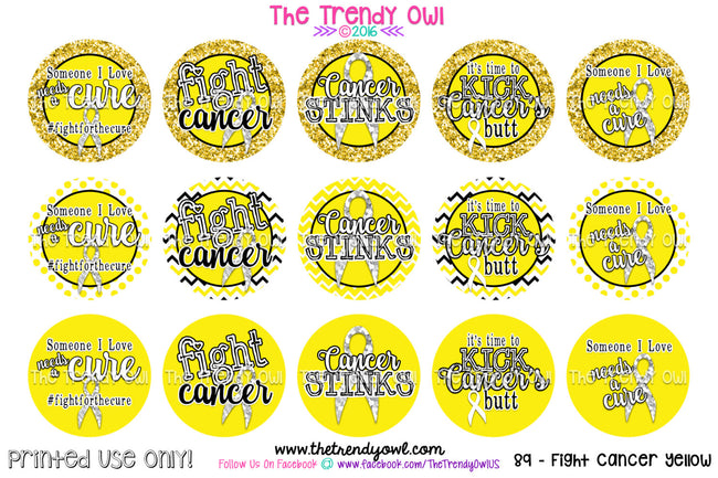 "Fight Cancer! Yellow Awareness - 1"" Bottle Cap Images - INSTANT DOWNLOAD"
