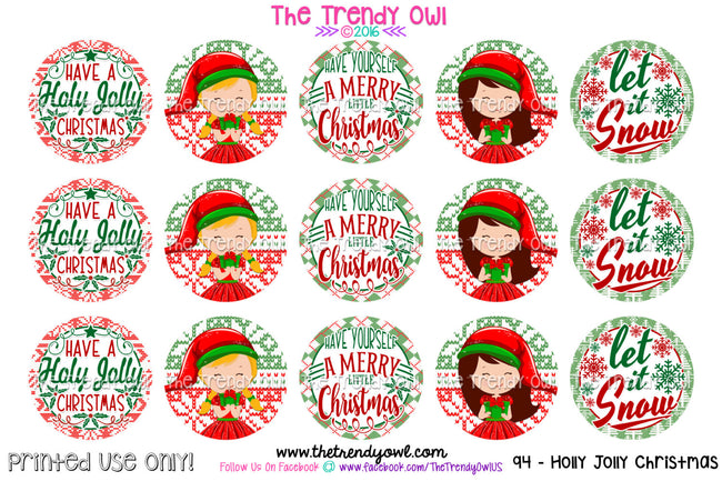 "Holly Jolly  Christmas - 1"" BOTTLE CAP IMAGES - INSTANT DOWNLOAD"