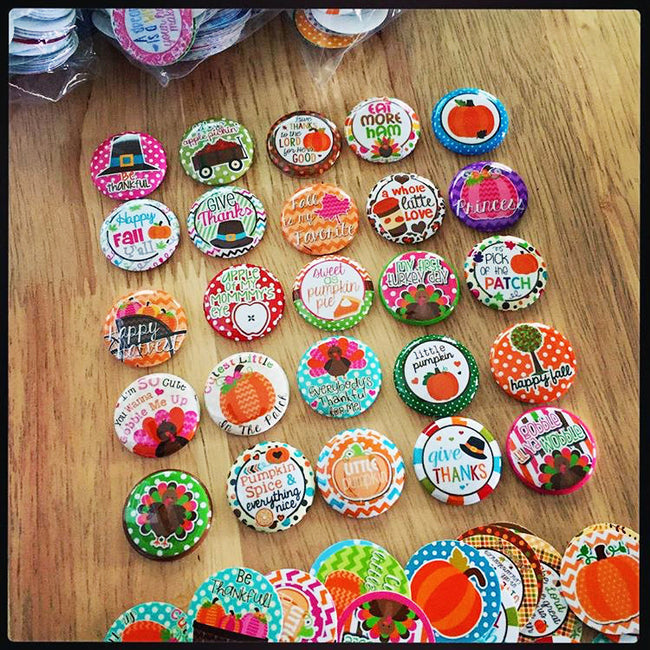 FALL/THANKSGIVING - 25pc. Flat Back Button Grab Bag