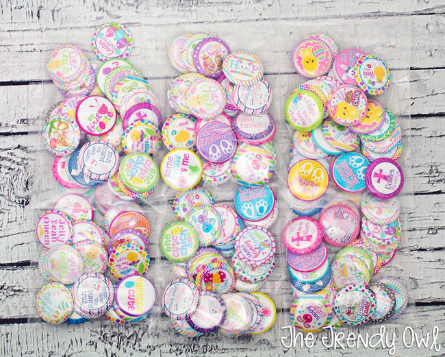 EASTER/SPRING - 25pc. Flat Back Button Grab Bag