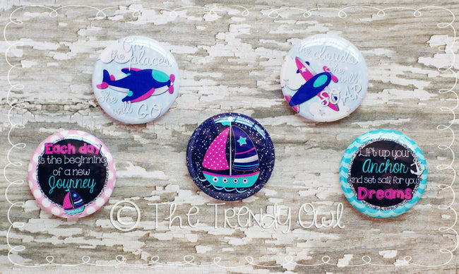 "Flat Back Buttons M2M  ""Oh The Places She Will Go"" Collection - 5pc"