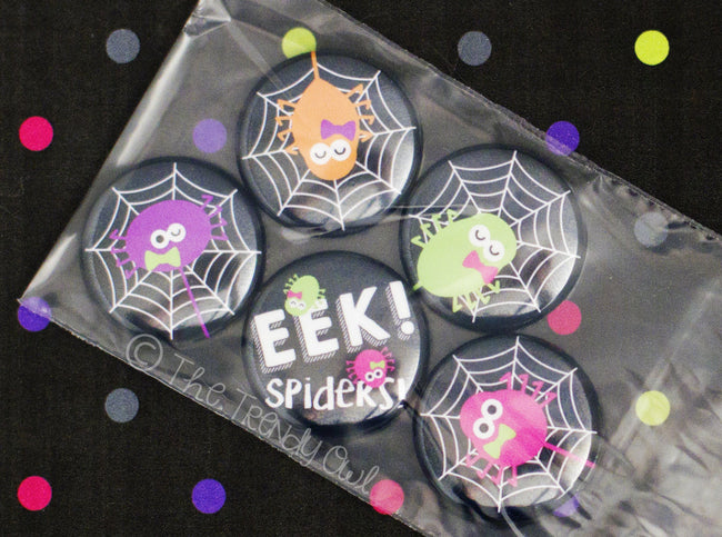 "Flat Back Buttons M2M  ""EEK! Spiders"" Halloween Collection - 5pc"
