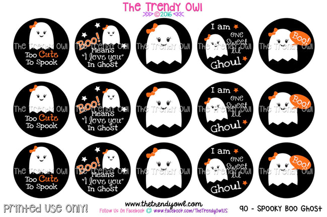 "Spooky Boo! Ghost -  Halloween Themed - 1"" BOTTLE CAP IMAGES - INSTANT DOWNLOAD"