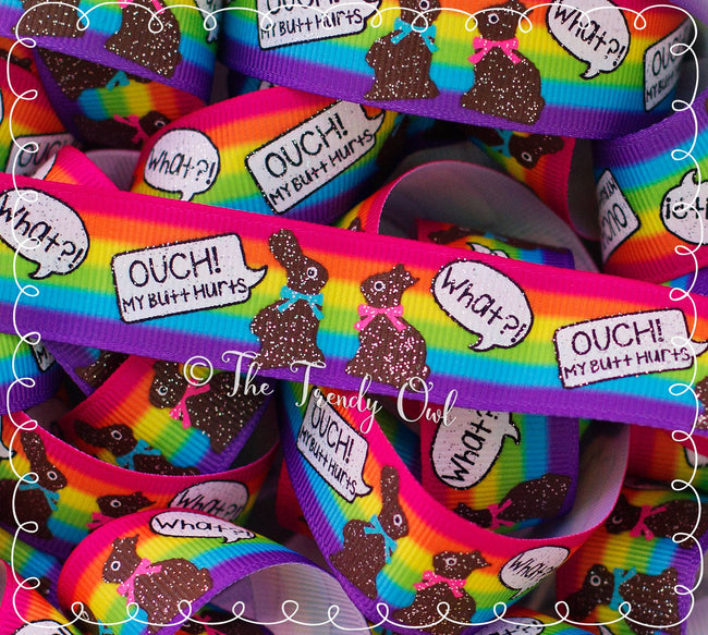 "7/8"" OUCH! Chocolate Bunnies on Bright Rainbow Stripes - Easter Inspired - 5yd Roll"
