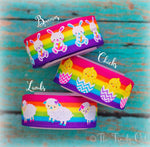 "7/8"" Glittered Easter Animals on Bright Rainbow Stripes - 5yd Roll"