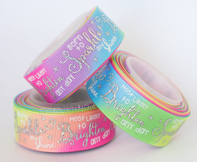 "7/8"" ""Born to Sparkle and Shine"" on Pastel Tie-Dye Heat Transfer - 5yd Roll"