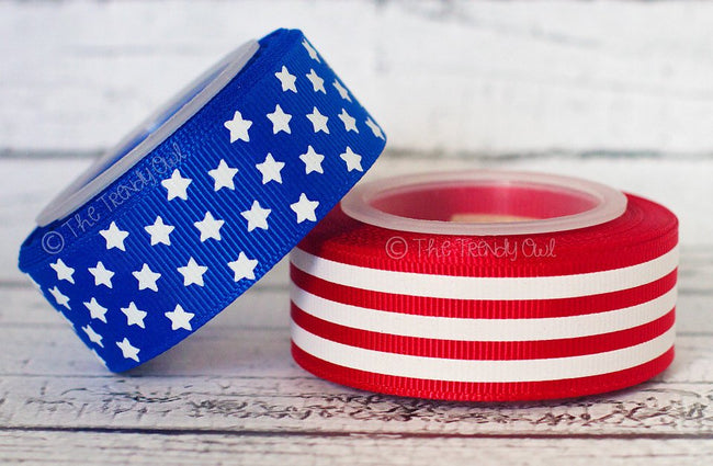 "7/8"" White Foil Stars & Stripes! - 4th of July - 5yd Roll"