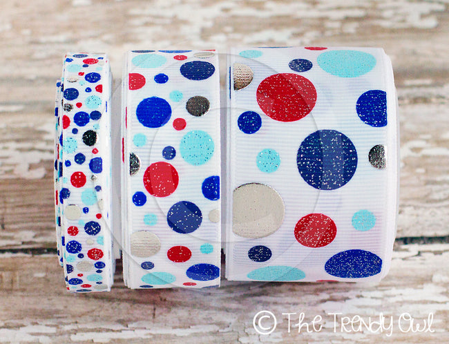 "3/8"", 7/8"" & 1.5"" Patriotic Dots! Red/Silver/Blue - 4th of July - 5yd Roll"