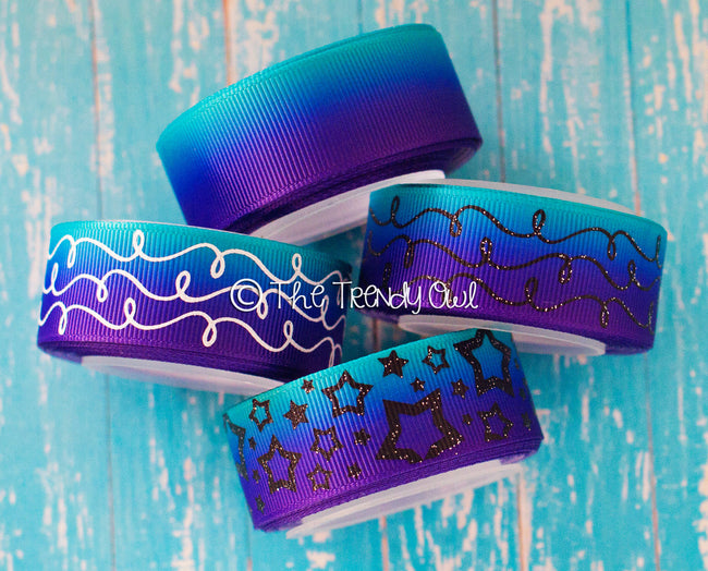 "7/8"" Tropic/Blue/Purple Ombre - Solids,Doodles, Stars - 5yd Roll"
