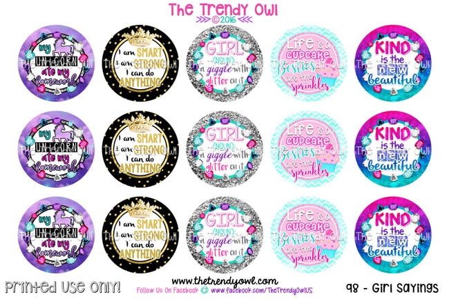 "GIRL: (n) A Giggle With Glitter On It - 1"" Bottle Cap Images - INSTANT DOWNLOAD"